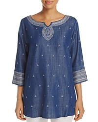 Nic Zoe And Embroidered Denim Tunic Mid Denim