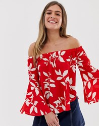 Qed London Fluted Sleeve Bardot Top In Red Floral Multi