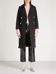 Moandco. Double Breasted Denim Trench Coat Black Denim