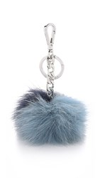 Michael Michael Kors Fur Pom Pom Bag Charm Navy Powder Blue