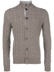 Barba Cashmere Cable Cardigan Nude And Neutrals