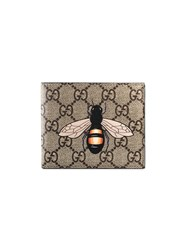 Gucci Bee Print Gg Supreme Wallet Leather Canvas Nude Neutrals