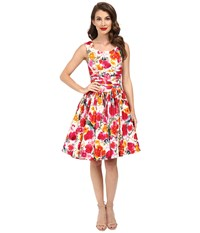 Unique Vintage Roman Holiday Retro Flare Dress Watercolor Floral Women's Dress Multi