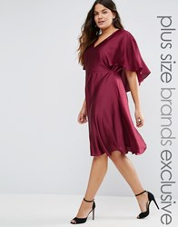 Truly You Satin Dress With Keyhole Cape Back Detail Burgundy Red