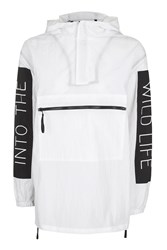 Topshop Slogan Windbreaker Jacket White
