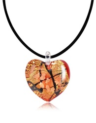 Antica Murrina Veneziana Passione Red Gold And Black Murano Glass Heart Pendant