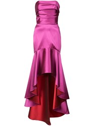 Marchesa Notte Fluted Asymmetric Hem Gown Pink And Purple