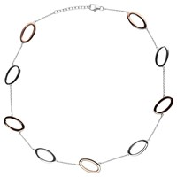 Nina B Open Oval Link Necklace Silver Red
