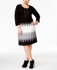 Sandra Darren Plus Size Ombre Sweater Dress Black Grey Multi