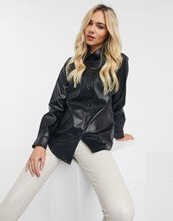 New Look Leather Shirt In Black