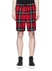 Alexander Wang Check Plaid Wool Flannel Shorts Red
