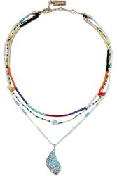Etro Layered Silk And Multi Stone Necklace Blue