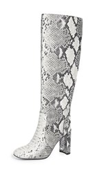 Jeffrey Campbell Entuit Tall Boots Black White Snake