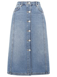 Whistles Denim Button Front Midi Skirt Blue