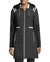 Blanc Noir Stadium Hooded Zip Front Puffer Jacket Black