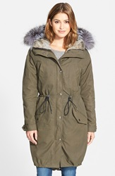 Andrew Marc New York Oversize Army Parka With Genuine Fox Fur Trim And Rabbit Fur Liner Olive