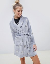 Brave Soul Grey Stars Dressing Gown