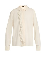 Stella Mccartney Ruffled Crepe De Chine Blouse Ivory