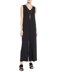 Eileen Fisher Wide Leg Viscose Jersey Jumpsuit Plus Size Black