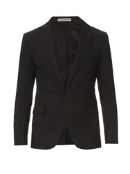 Bottega Veneta One Button Cotton Poplin Blazer Black