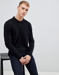 e01af99f938 Esprit Knitted Long Sleeve Wool Blend Polo Shirt In Black