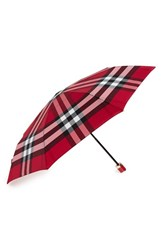 Burberry 'Trafalgar' Check Folding Umbrella Pink Fuchsia Pink