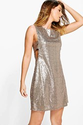 Boohoo Sequin Tabard Shift Dress Gold
