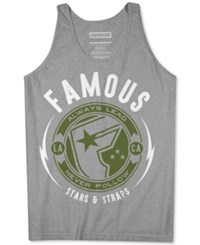 Famous Stars And Straps Men's Graphic Print Cotton Tank Heather Grey