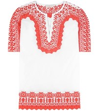 Tory Burch Isla Embroidered Cotton Tunic White