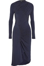 Atlein Ruched Printed Stretch Jersey Midi Dress Storm Blue