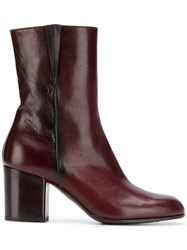 Pantanetti Side Zip Ankle Boots Purple