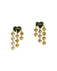 Prince Dimitri For Assael 18K Emerald And Sapphire Heart Drop Earrings Women's