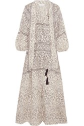 Zimmermann Caravan Pussy Bow Printed Linen Dress Stone