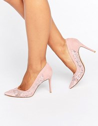 Dune Bridal Buffie Lace Pointed Court Shoes Pink