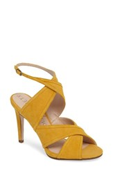 Sole Society Women's Esme Cross Strap Sandal Spicy Mustard Suede