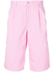 Comme Des Garcons Shirt Pleated Detail Deck Shorts Pink And Purple