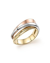 Bloomingdale's Sculpted Triple Row Band On 14K Rose White And Yellow Gold 100 Exclusive Multi