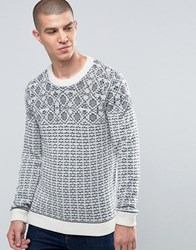 Selected Homme Pattern Stitch Crew Neck Payprus Beige