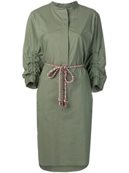 Odeeh Belted Shirt Dress Green