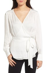 Chelsea 28 Women's Chelsea28 Satin Wrap Blouse White Snow