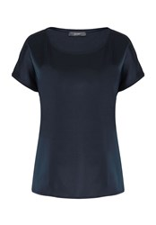 Hallhuber Top With Silk Front Navy