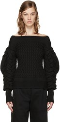 Christophe Lemaire Black Cable Knit Sweater