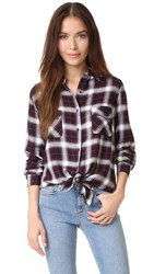 Bb Dakota Hardwood Garment Washed Plaid Shirt Navy