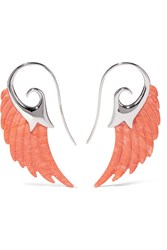 Noor Fares Wing 18 Karat White Gold Coral Earrings One Size