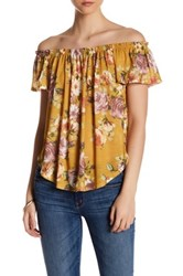 Hip Printed Off The Shoulder Blouse Yellow