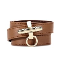 Givenchy 3 Row Obsedia Leather Bracelet Brown