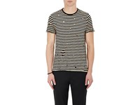 Barneys New York Men's Striped Distressed Cotton T Shirt Black