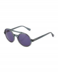 Derek Lam Morton Round Plastic Sunglasses Grey Smoke