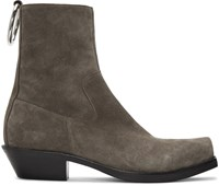 Vetements Taupe Suede Ring Ankle Boots