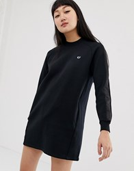 327c6cb118 Fred Perry High Neck Sweatshirt Dress With Satin Tape Sleeve Black